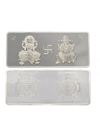 100gm Laxmi /Ganpati Non Colour 999  Purity Silver Bar