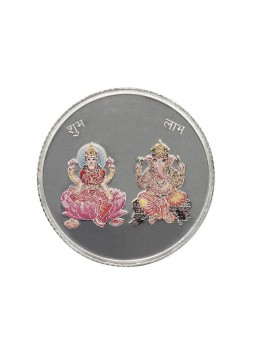 LAXMI AND GANESH SILVER COLOURED COIN 10GM